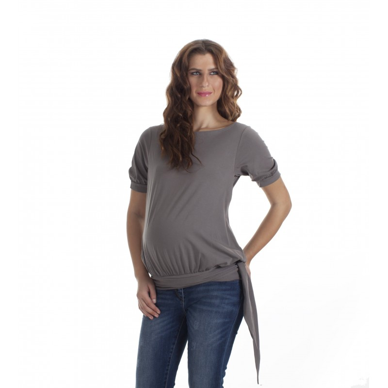 """Shirt """"HIP TIE"""" mit Hüftbindegürtel und kurzen Ärmeln"""